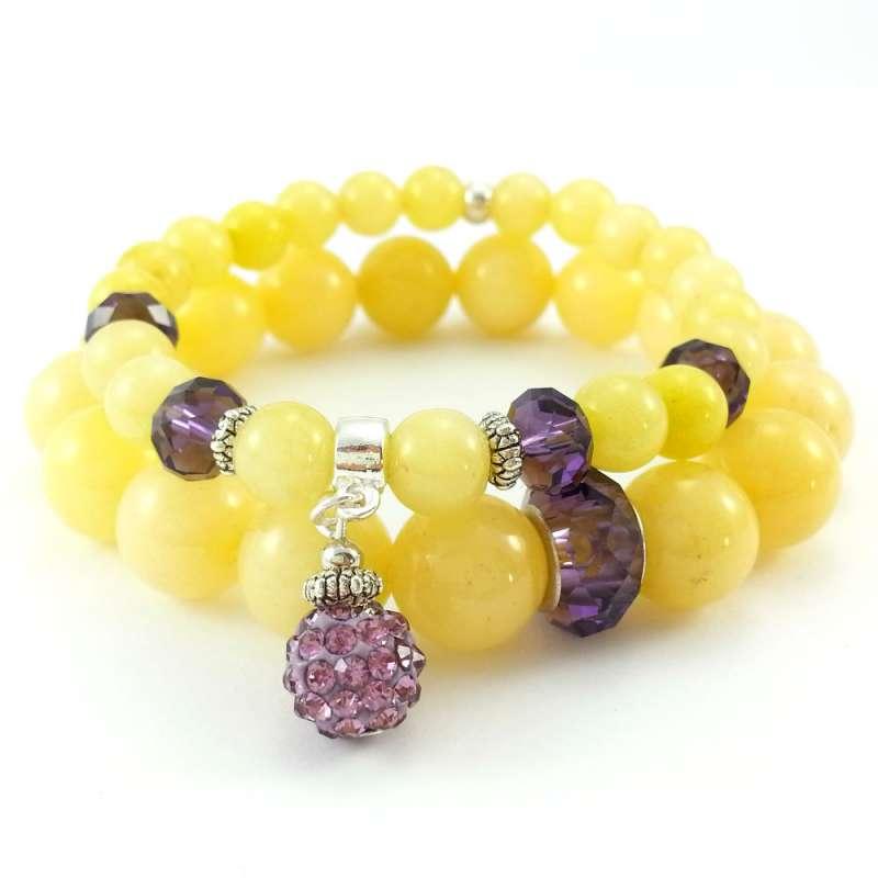 Komplet bransoletek kamienie naturalne z żółtym jadeitem i fioletowymi kryształkami szklanymi.
