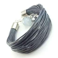 Bransoletka z szarych sznurków- sznurkowa z jadeitem i kryształkiem.