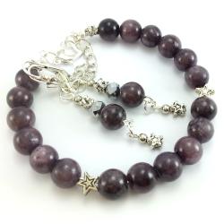 Komplet biżuterii damskiej z kamieniami naturalnymi- marmurem i gwiazdkami.