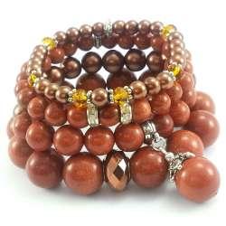 Komplet rudych bransoletek z kamieni piasku pustyni, perły i kryształków.