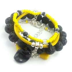Zestaw bransoletek w odcieniu żółto czarnym z kamieniami lawy wulkanicznej, howlitu,kryształków i skóry.