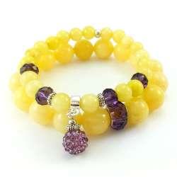Dwie żółte bransoletki z kamieniami jadeitu 12mm, 8 mm i kryształkami ametystowymi.