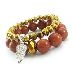 Bransoletki z kamieniami piasku pustyni 14 mm i złotych kryształów szklanych z różą.