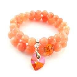 Komplet bransoletek z pomarańczowym marmurem i kryształkami.