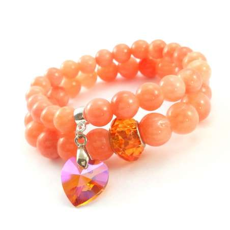 Komplet bransoletek z kamieni naturalnego pomarańczowego marmuru z kryształowym koralikiem i sercem Swarovski red magma.