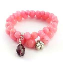 Bransoletki kamienie jadeit pudrowy róż z serduszkiem  i fioletowym kryształkiem.