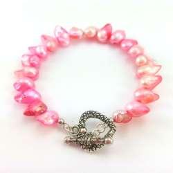 Różowa bransoletka perła słodkowodna w kształcie