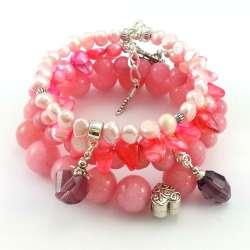 Komplet bransoletek kamienie jadeit pudrowy róż i perły słodkowodne.