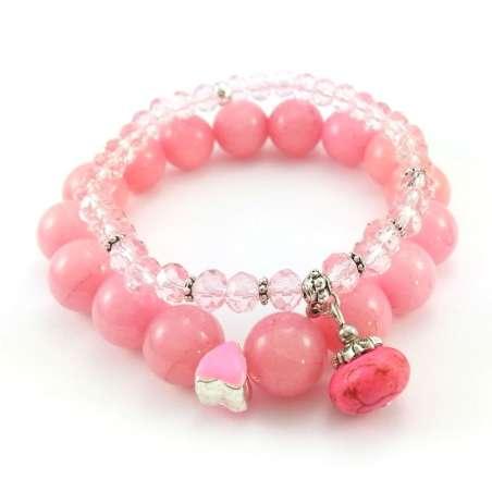 Różowe bransoletki z kulami jadeitu, oponkami kryształkami szklanymi i howlitem.