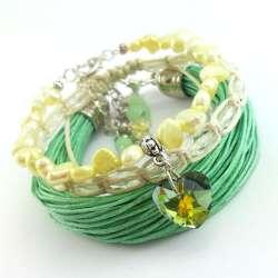 Komplet bransoletek damskich z miętowego sznurka, żółtych pereł słodkowodnych i koralików.