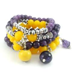 Zestaw bransoletek z żółto fioletowych kamieni marmuru z kryształkami i agatem.