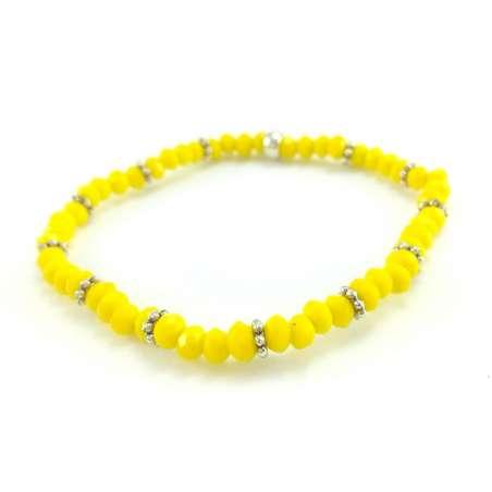 Bransoletka z żółtych szklanych szlifowanych kryształków i ozdobnych przekładek.