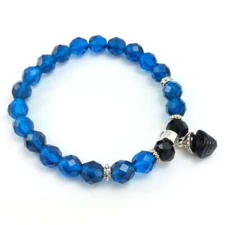 Turkusowo niebieska bransoletka z kryształkami szklanymi.