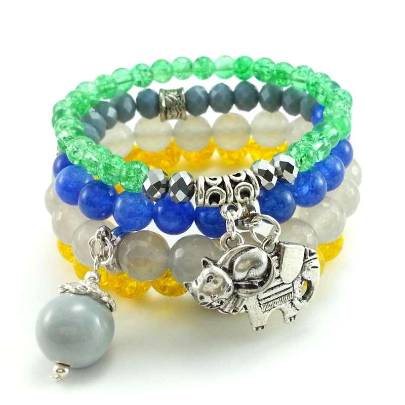 Komplet bransoletki z kamieni jadeitu, kwarcu i kryształków- kolorowe.