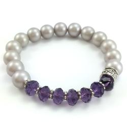 Bransoletka kulki beżowe perły szklane i fioletowe kryształki.