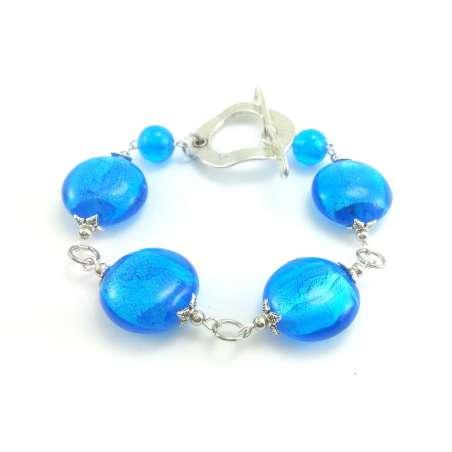 Błękitna bransoletka ze szkła weneckiego