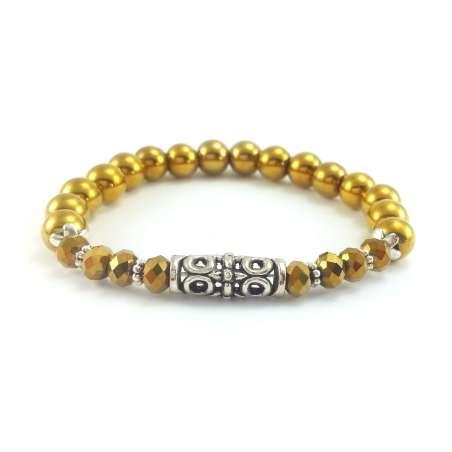 Bransoletka złota z kryształkami i kamieniem hematytu.