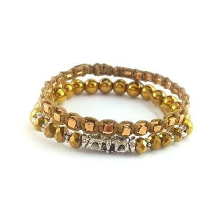 Bransoletki z kamieniem złotego hematytu, złotymi kryształkami szklanymi i shamballą z drobnymi koralikami.