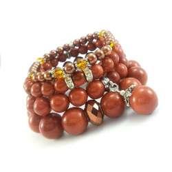 Komplet brązowych bransoletek z kamieni piasku pustyni, perły i kryształków.