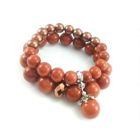 Komplet bransoletek z piaskiem pustyni, brązową perłą i miedzianym kryształkiem.
