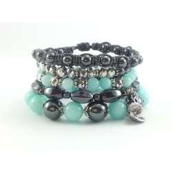 Komplet bransoletek w kolorze miętowym i szarym z kamieniami jadeitu, hematytu i srebrnych kryształków.