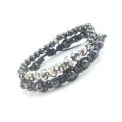 Bransoletki: shamballa z grafitowym hematytem i bransoletka na gumce ze srebrnymi kryształkami i hematytem.