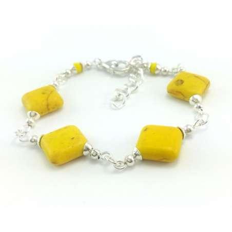 Żółta bransoletka z kwadratów kamieniem naturalnym :howlit.