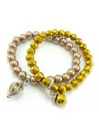 Biżuteria ślubna z pereł, kryształków, skóry w naturalnych odcieniach.